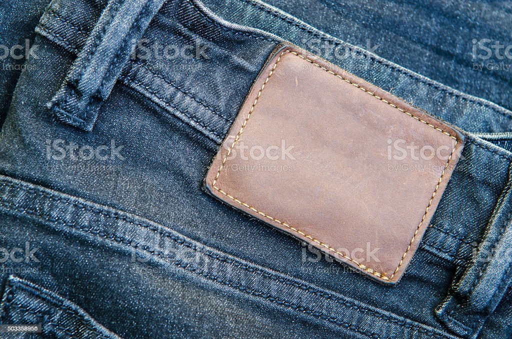 Jeans and lable tag stock photo