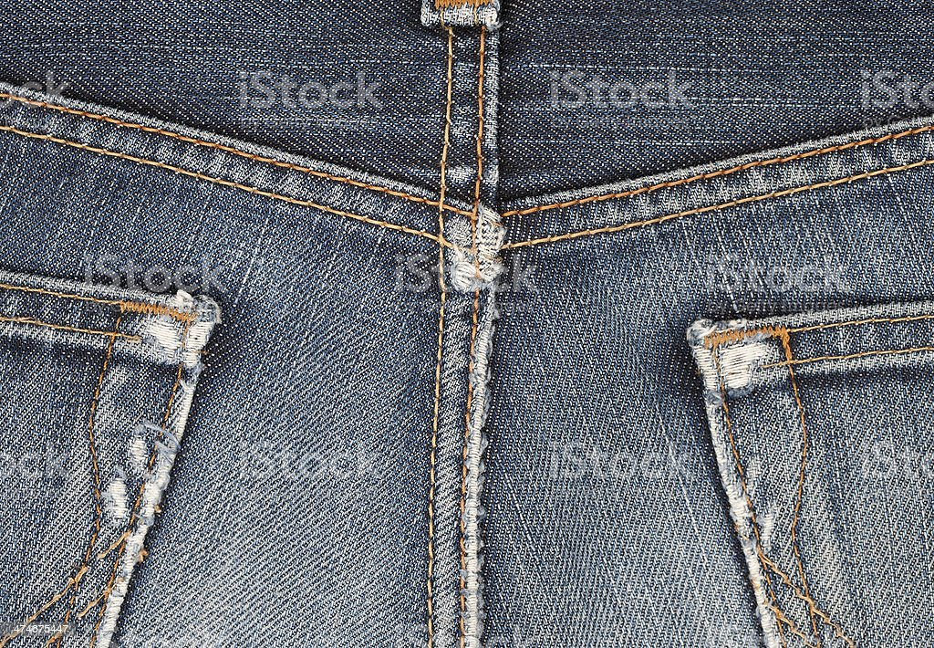 Jeans back pocket seam detail stock photo