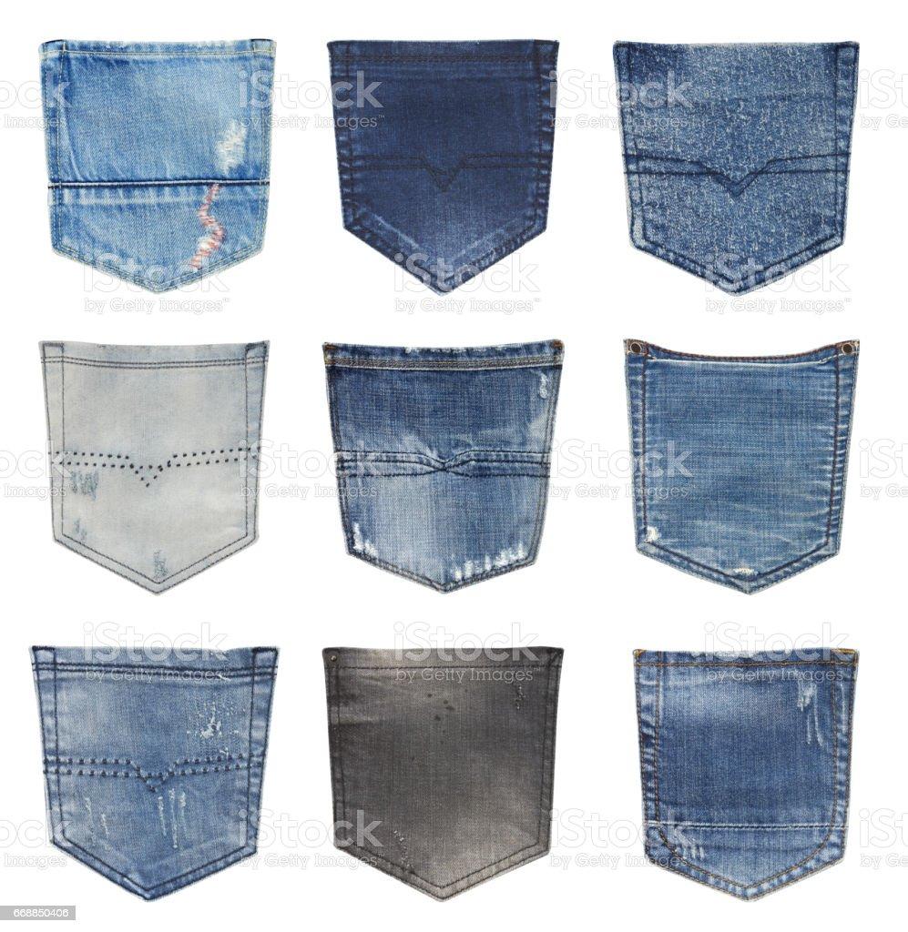 Jeans back pockets stock photo