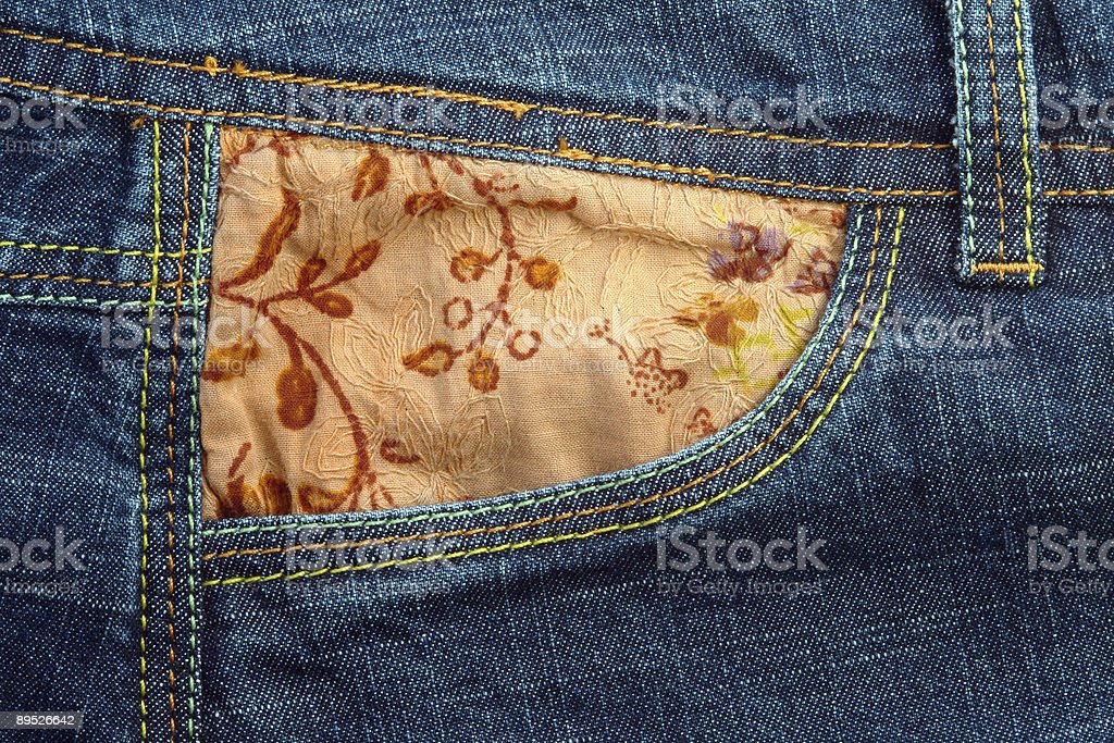 Jeans fabric and pocket royalty-free stock photo