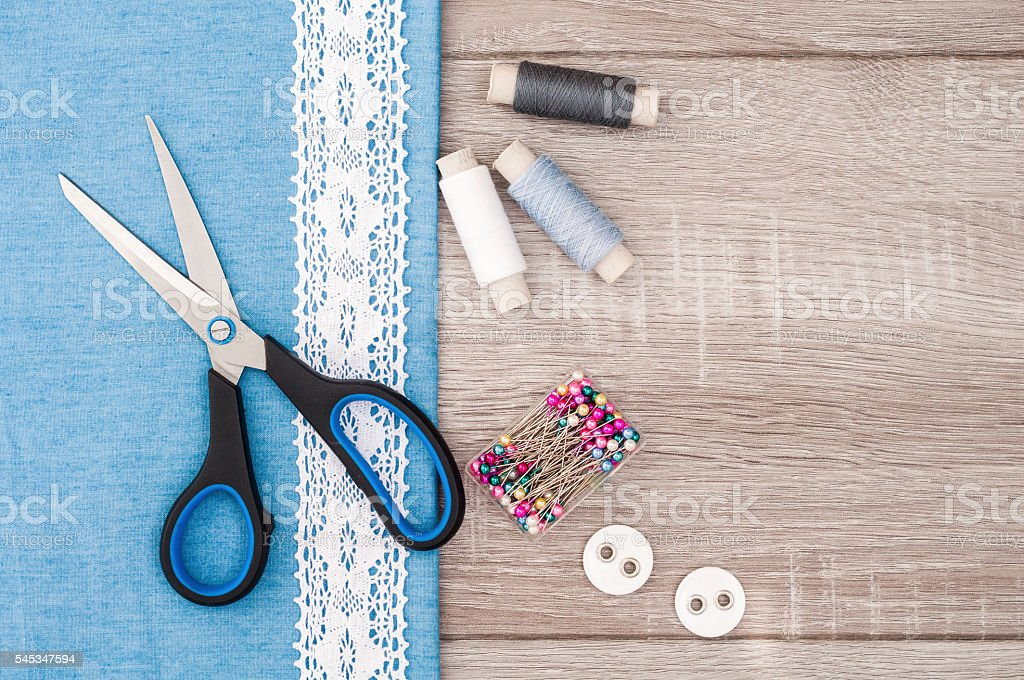 Jeans fabric for sewing, lace and accessories for needlework stock photo