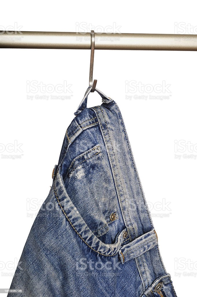 Jeans hanging on rack royalty-free stock photo
