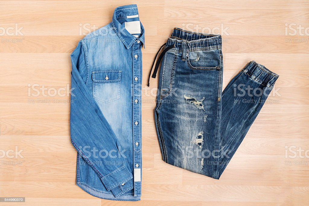 Jeans jogger pants and shirt new trendy fashion style stock photo