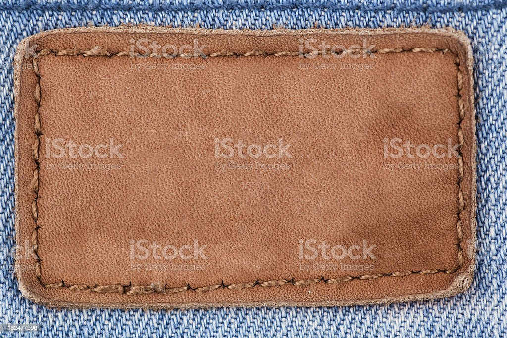 Jeans leather patch stock photo