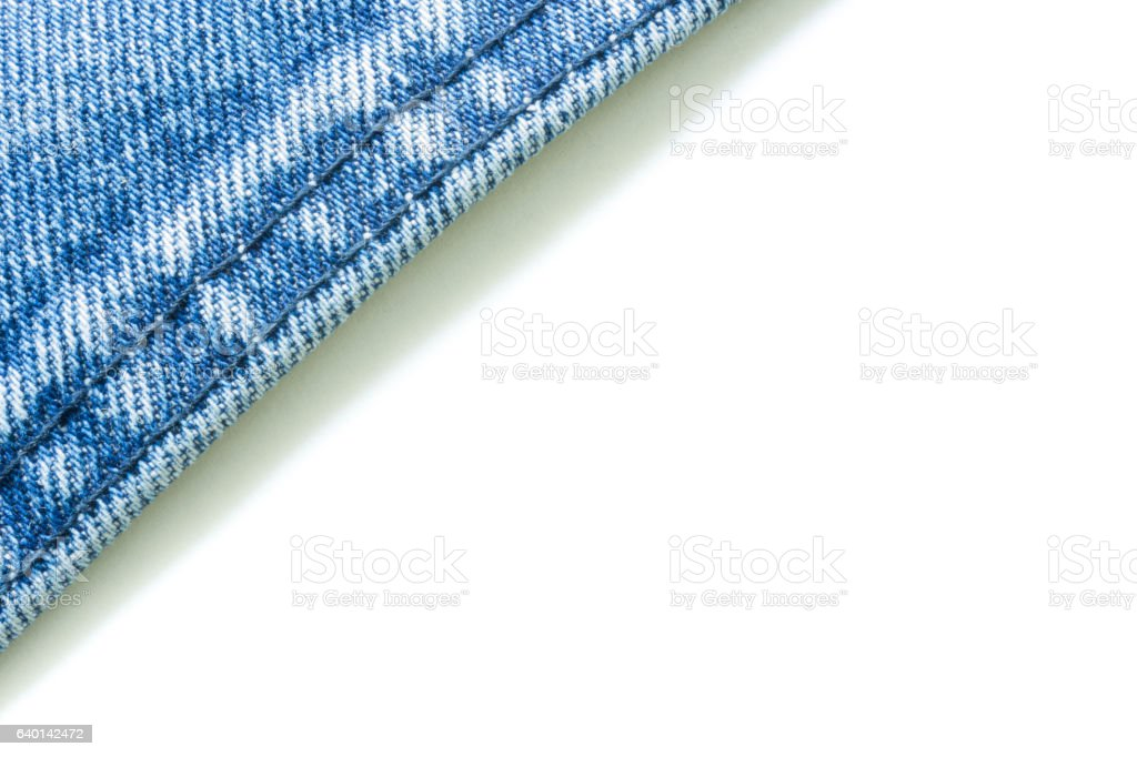 Jeans material with white background stock photo
