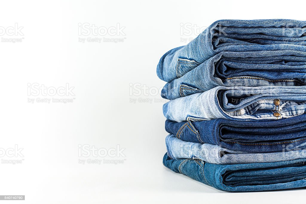Jeans on a white background. stock photo