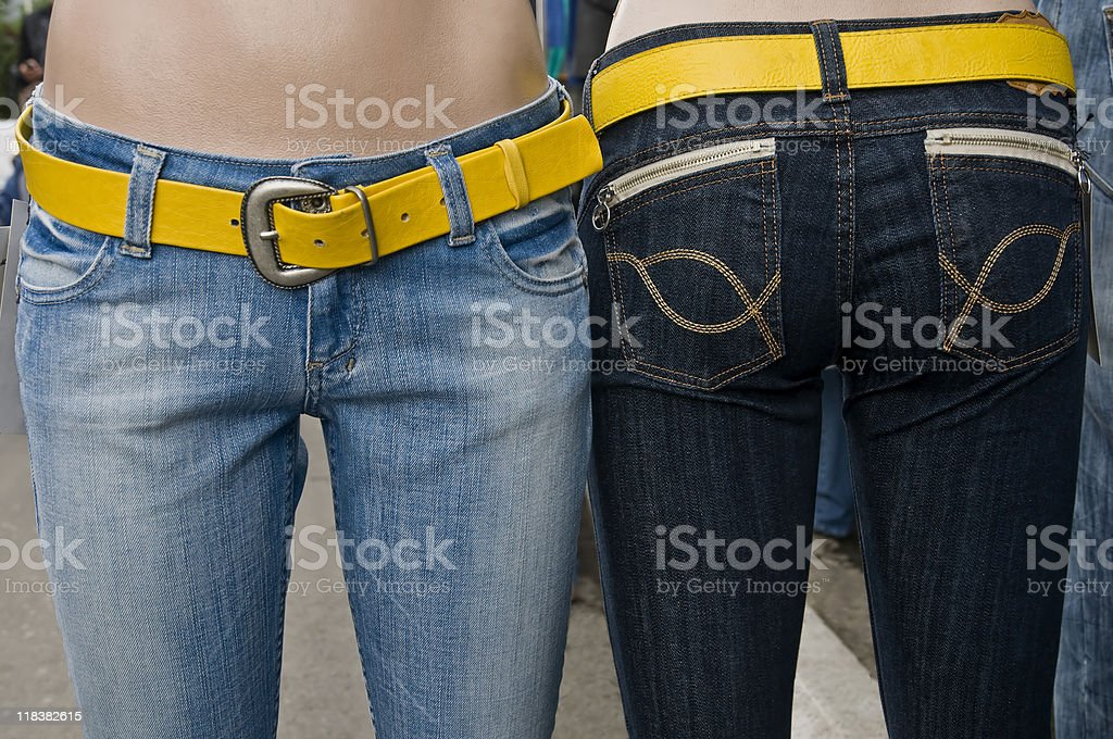 Jeans on mannequins stock photo