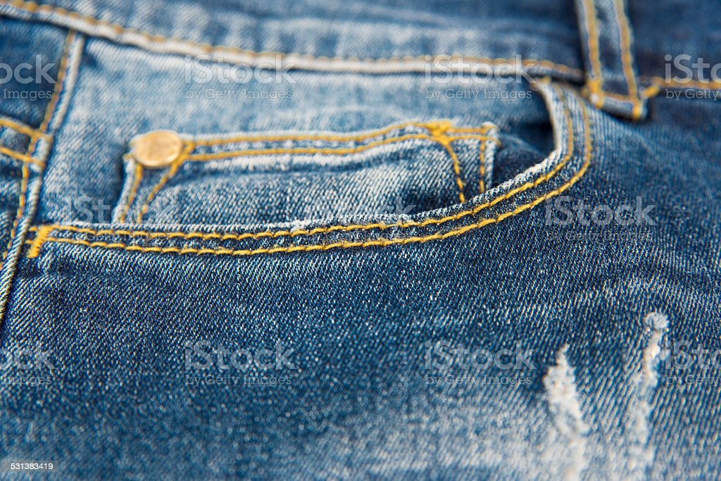 jeans pocket in close up stock photo