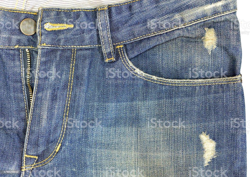 jeans pocket tear stock photo