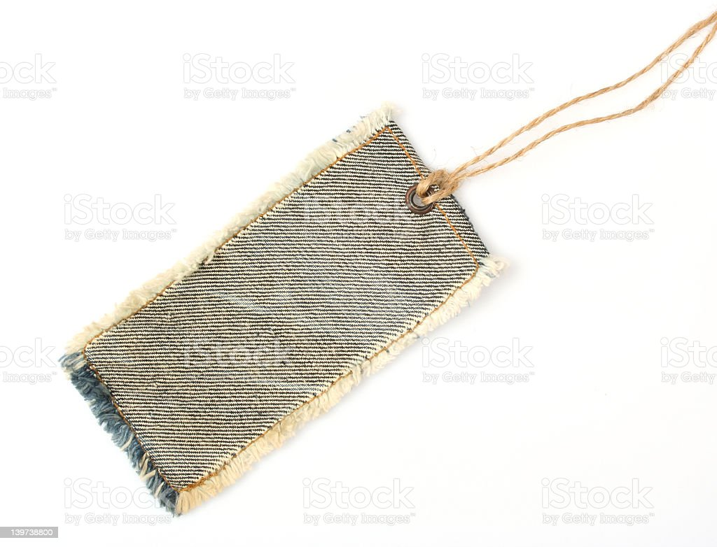 Jeans Tag with Twine stock photo