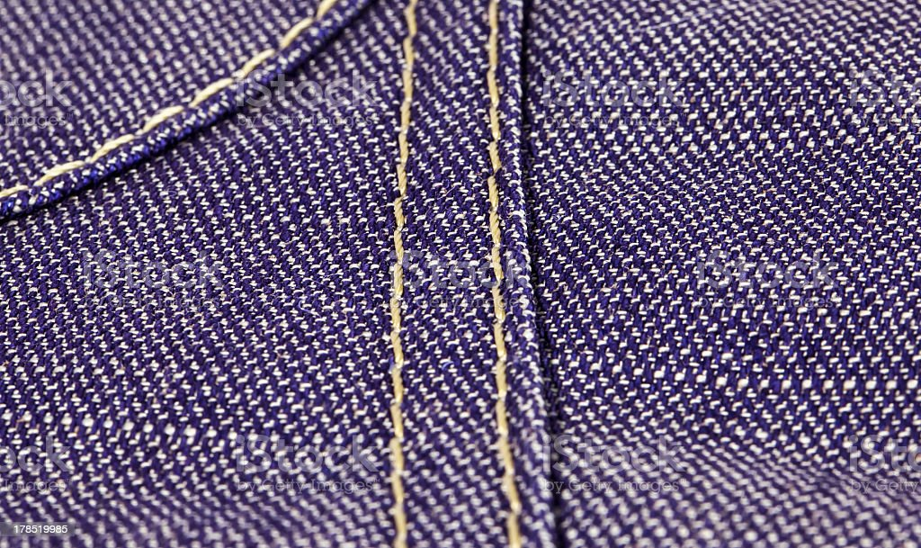 Jeans textile with close view on seams royalty-free stock photo