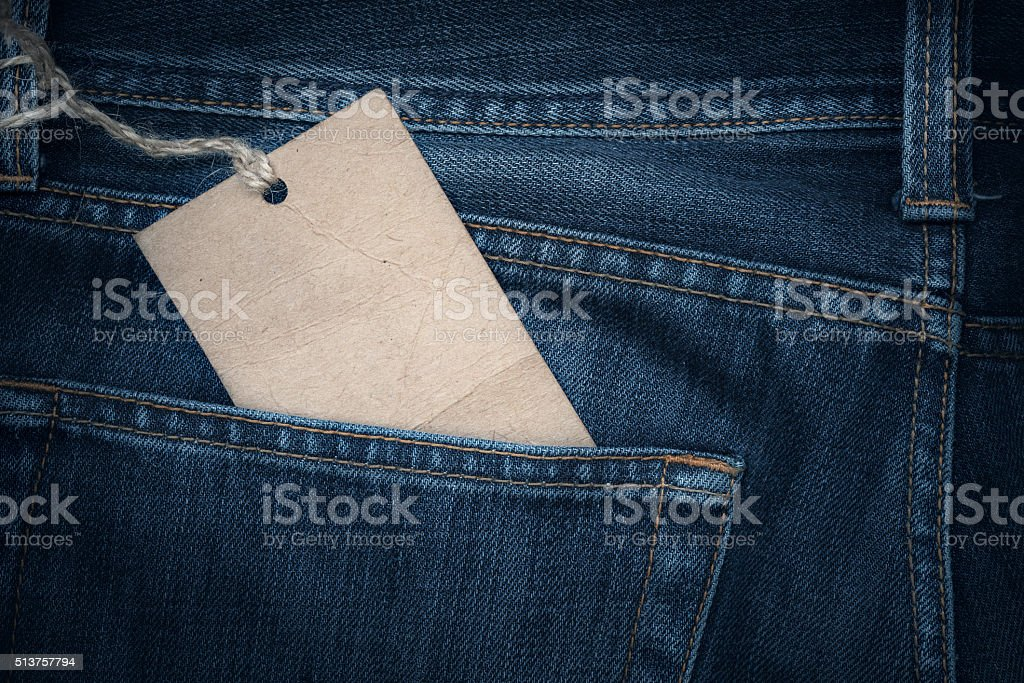 Jeans texture with paper label stock photo