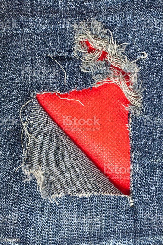Jeans torn denim texture. stock photo