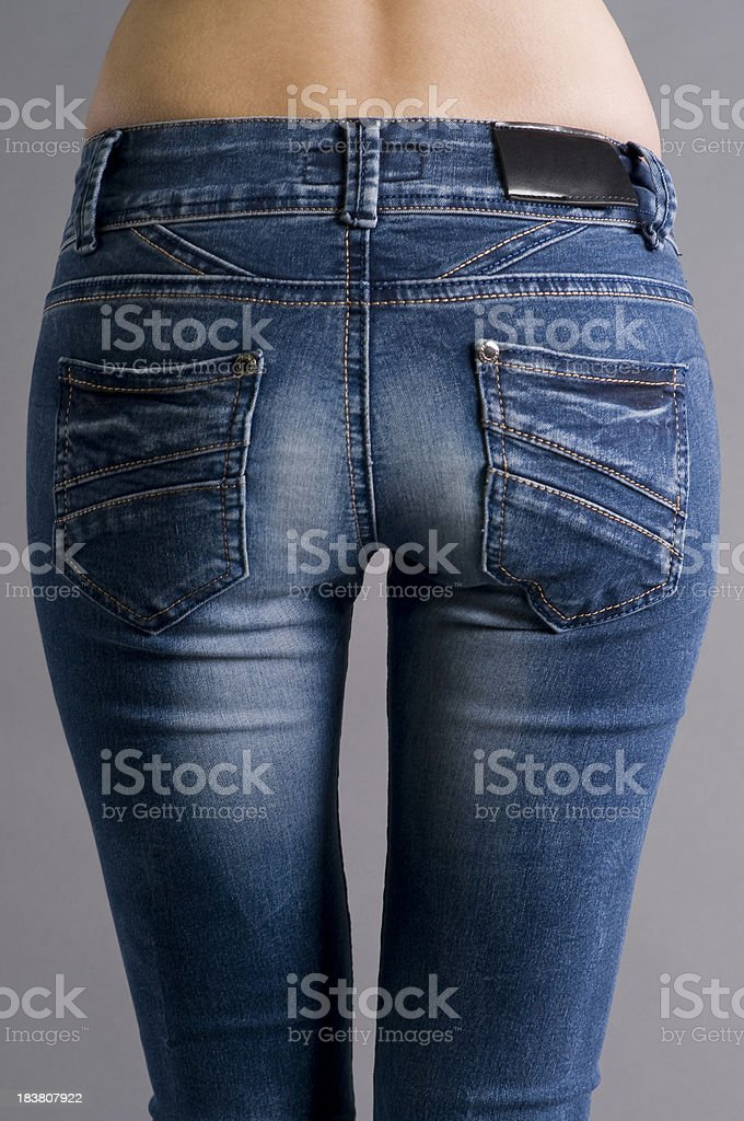 Jeans with a blank label stock photo