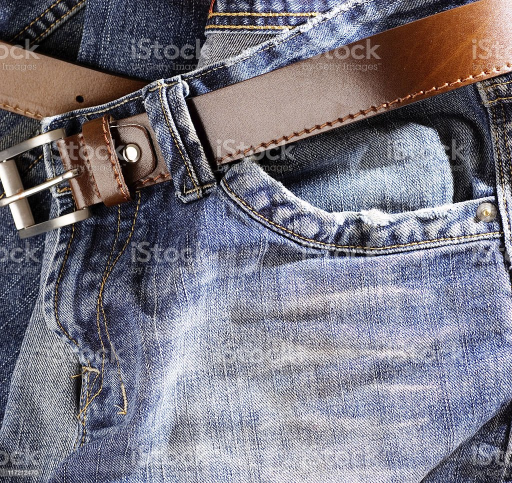 Jeans with belt royalty-free stock photo