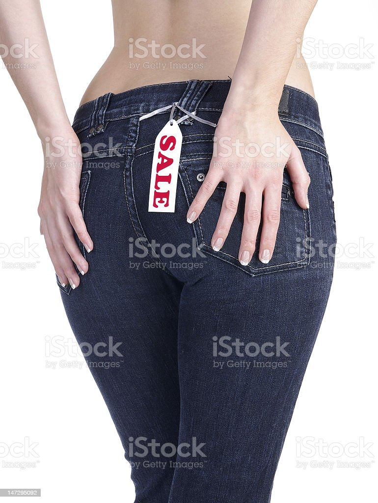 jeans with label sale isolated on white royalty-free stock photo