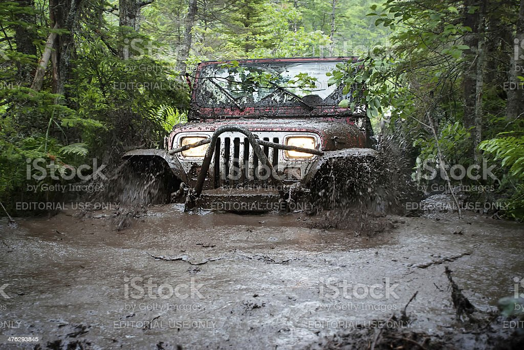 Jeep 4x4 in Deep Mud Bog - Nova Scotia stock photo
