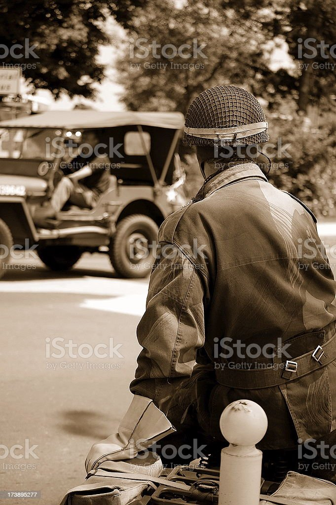 Jeep and Dispatch rider. royalty-free stock photo