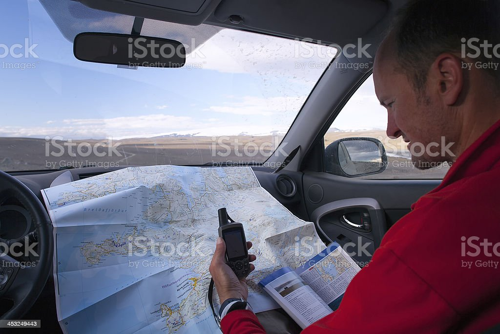 Jeep and GPS stock photo