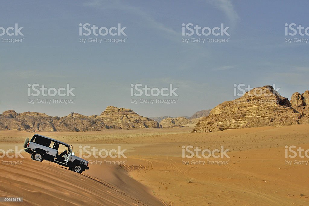 jeep car in desert royalty-free stock photo