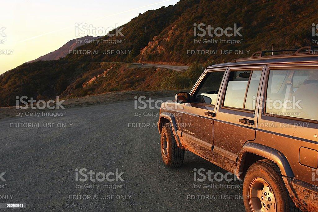Jeep Cherokee on the coast royalty-free stock photo