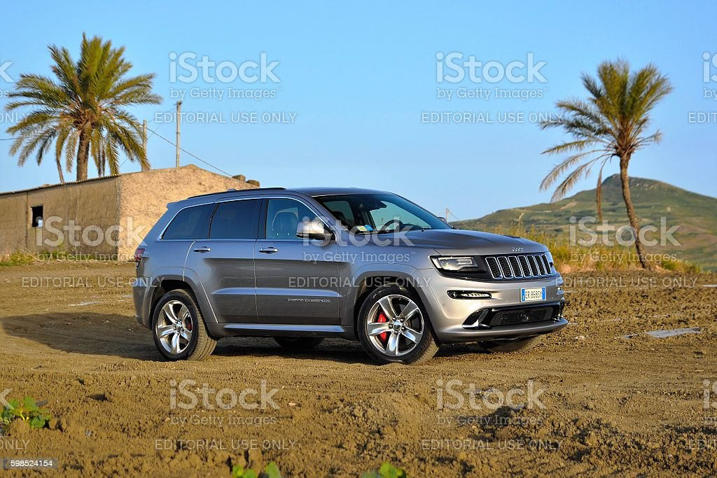 Jeep Grand Cherokee SRT on the unmade road stock photo