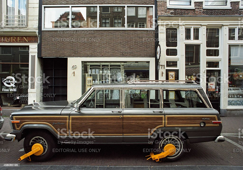 Jeep Grand Wagoneer clamped in Amsterdam stock photo