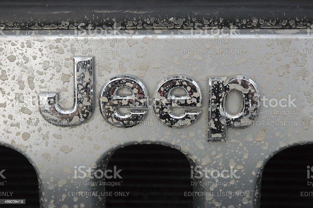 Jeep name badge logo on a silver wrangler splash marks stock photo