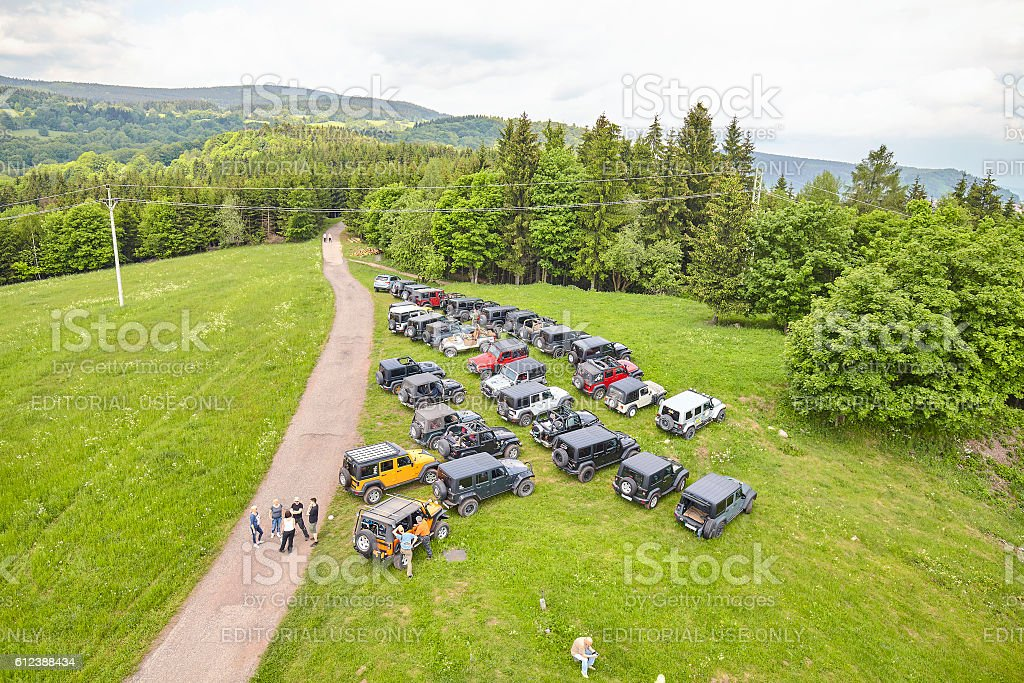 Jeep off road cars fans reunion and picnic. stock photo