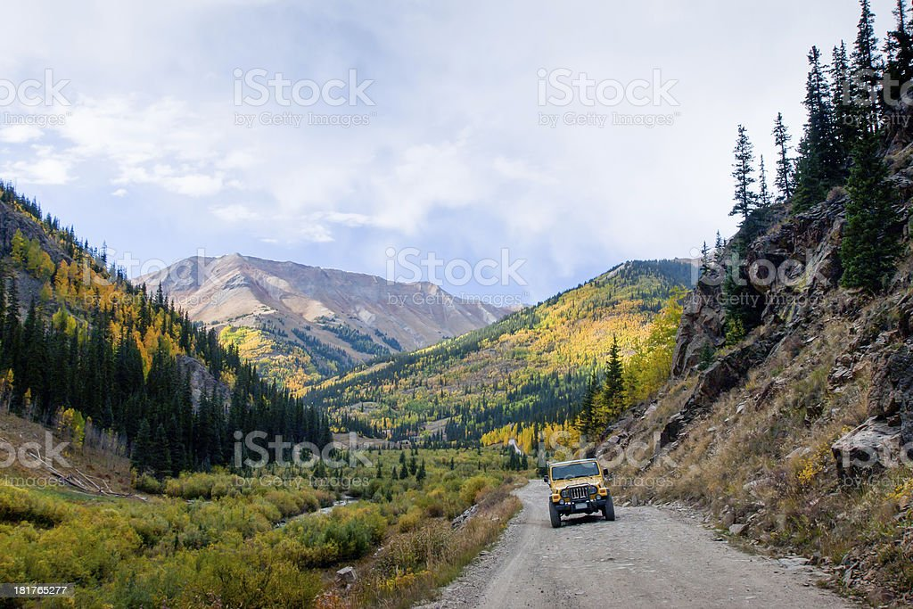 Jeep on the road stock photo