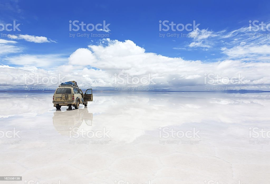Jeep on the Uyuni Salar in Bolivia stock photo