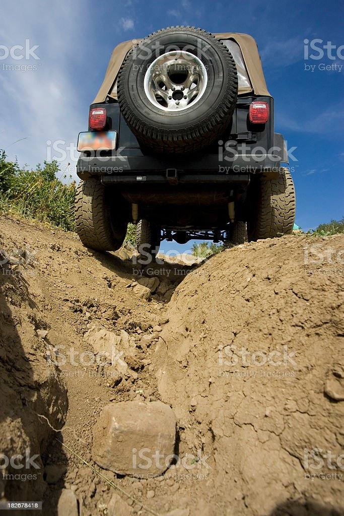 Jeep Over Deep Crevice stock photo