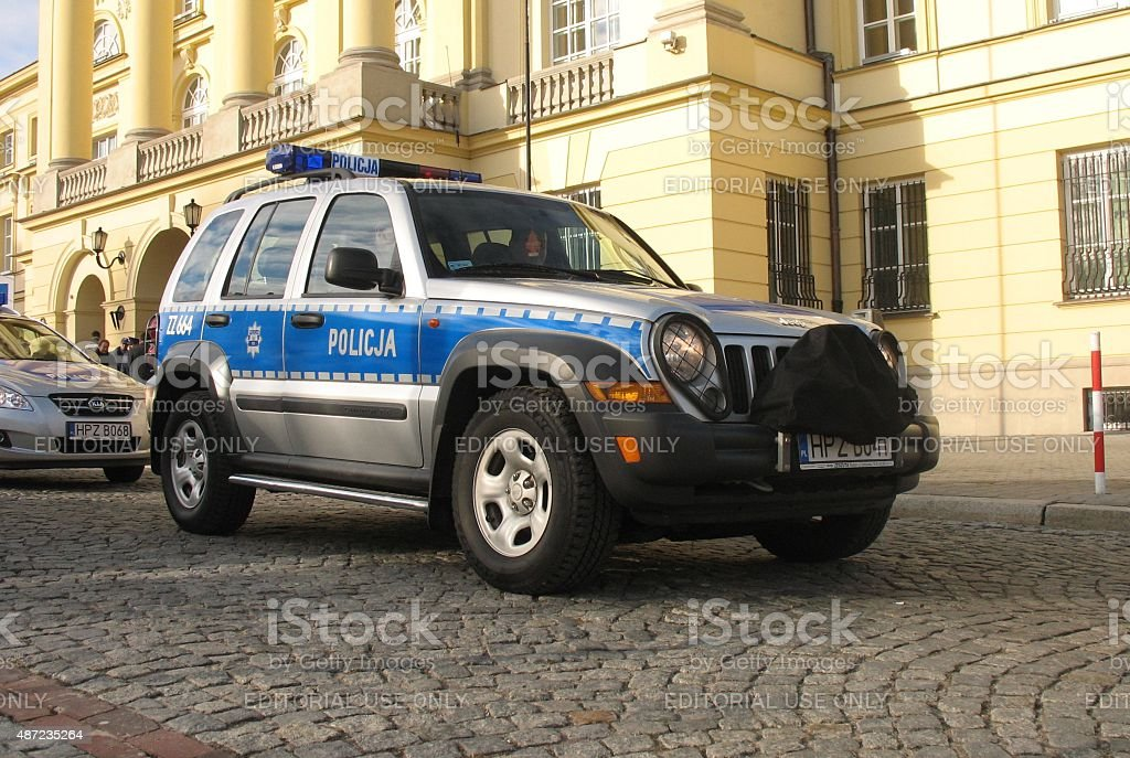 Jeep police car on the street stock photo