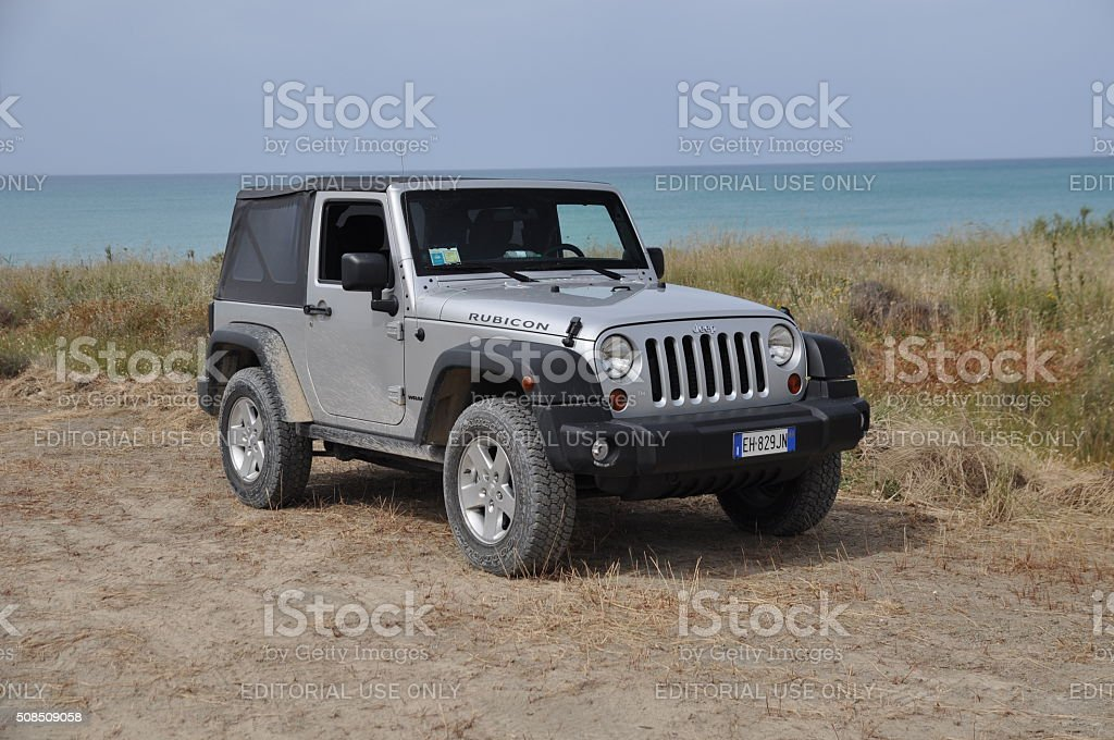 Jeep Wrangler on the unmade road stock photo