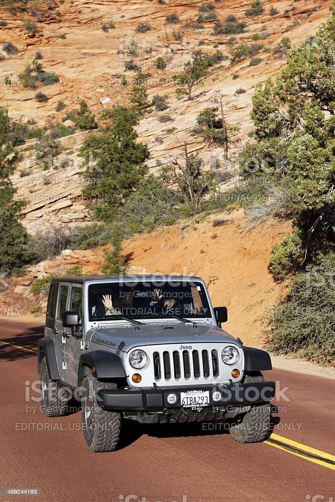 Jeep Wrangler Rubicon driving in Zion National Park USA stock photo