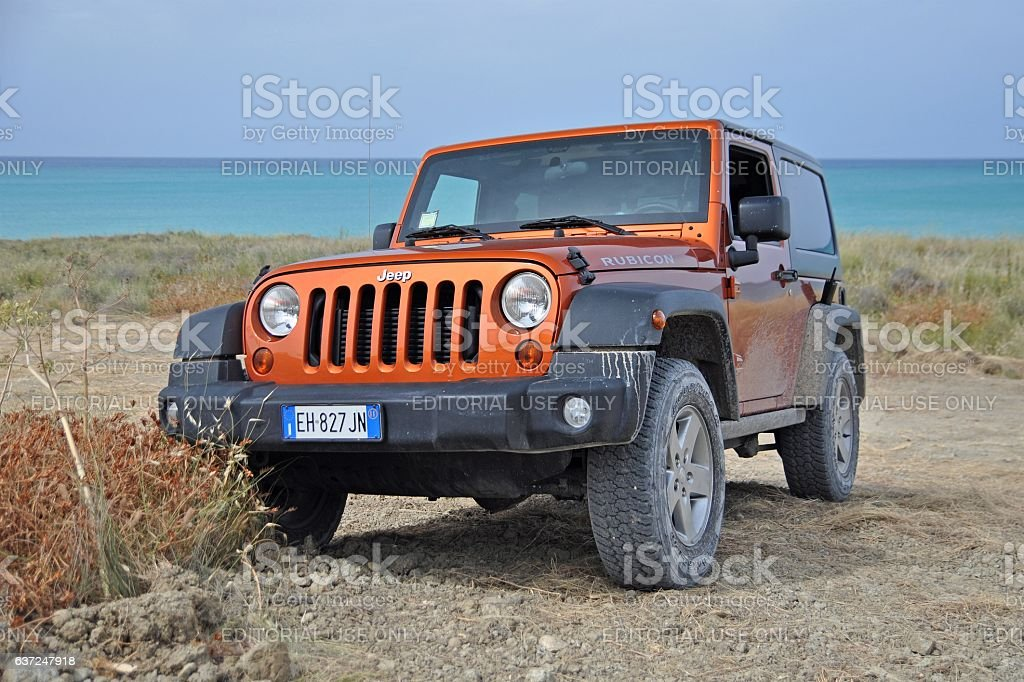 Jeep Wrangler Rubicon on the unmade road stock photo