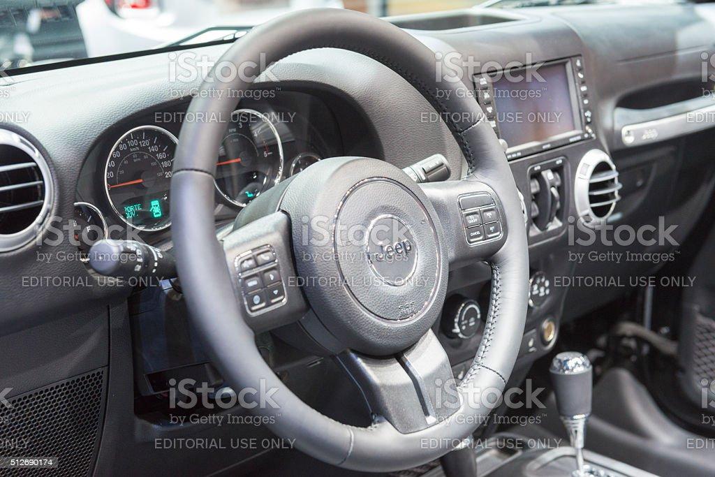 Jeep Wrangler Sahara Edition off-road vehicle dashboard stock photo