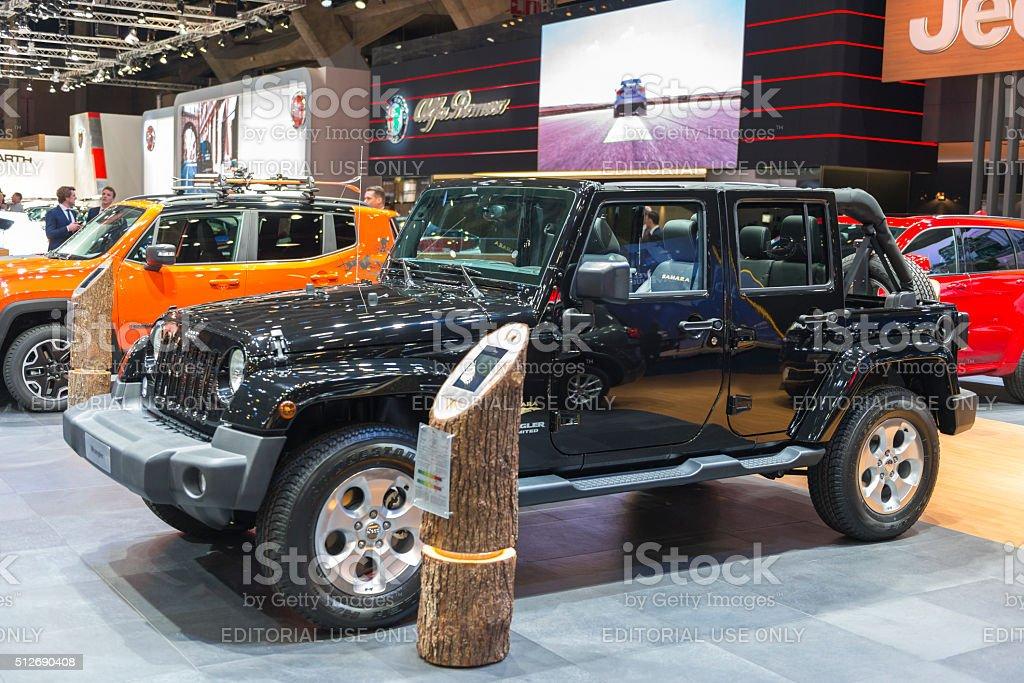 Jeep Wrangler Sahara Edition off-road vehicle stock photo