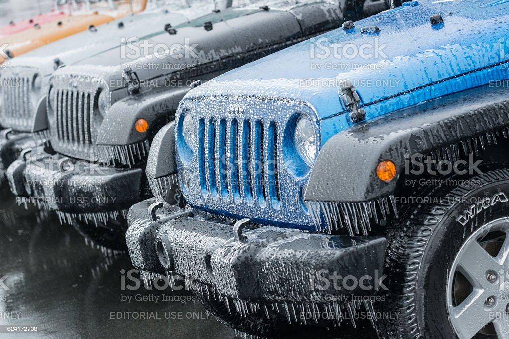 Jeep Wranglers on Ice stock photo