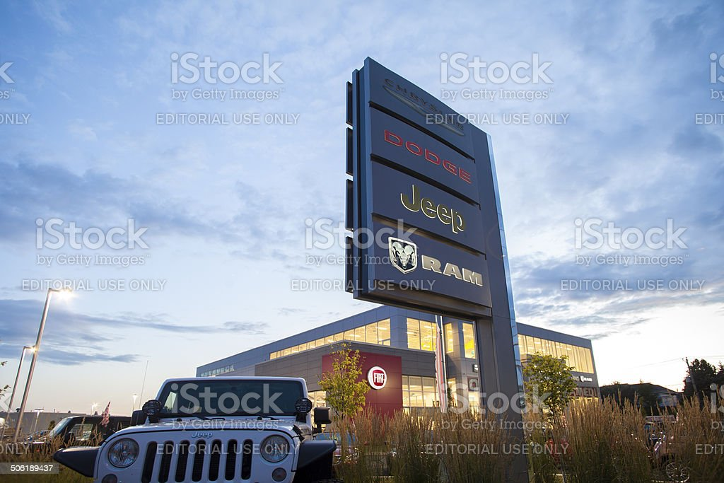 jeep.dodge,chrysler and ram Dealership sign stock photo