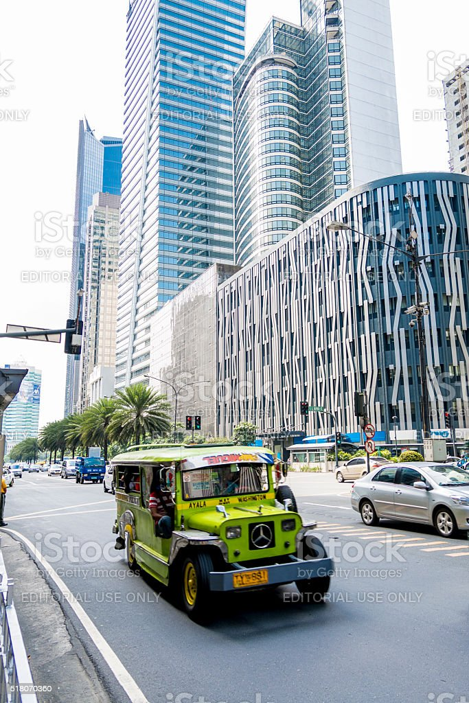 Jeepney in Makati City, Manila, Philippines. stock photo