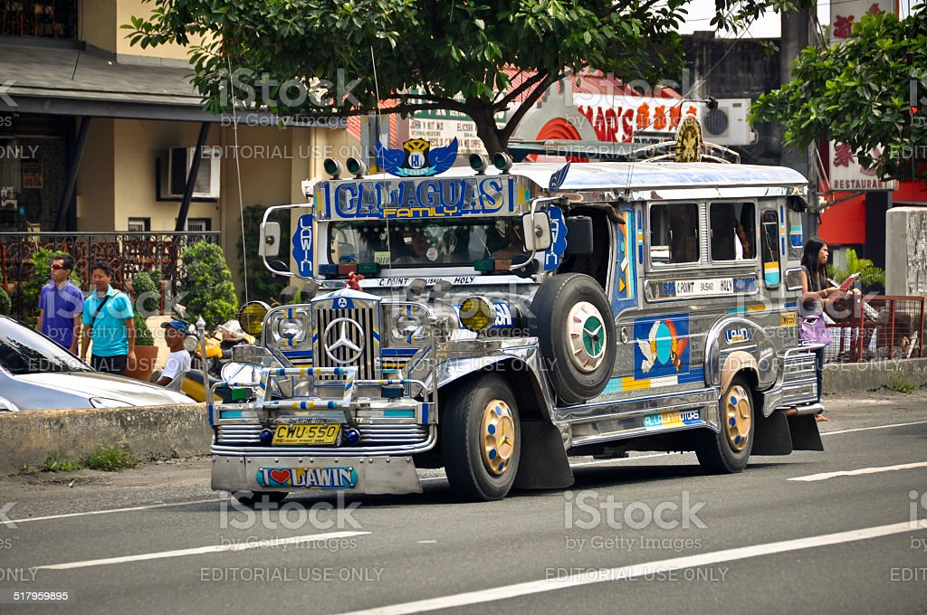 Jeepney in the streets of Philippines stock photo