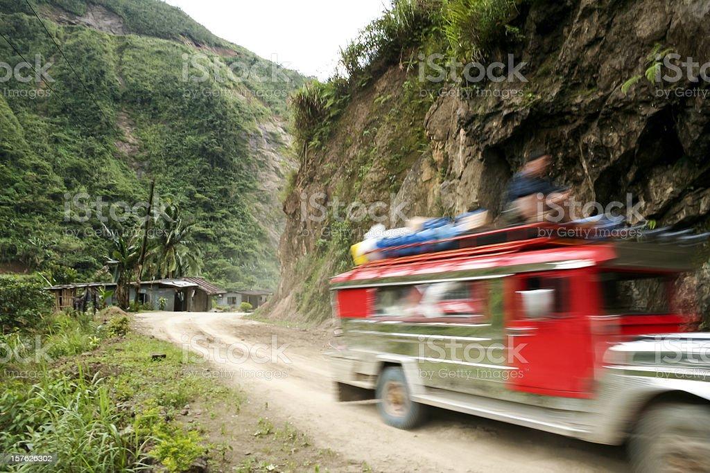 jeepney moving mountain road banaue philippines royalty-free stock photo
