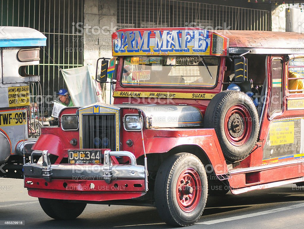 Jeepney on the street in Manila stock photo
