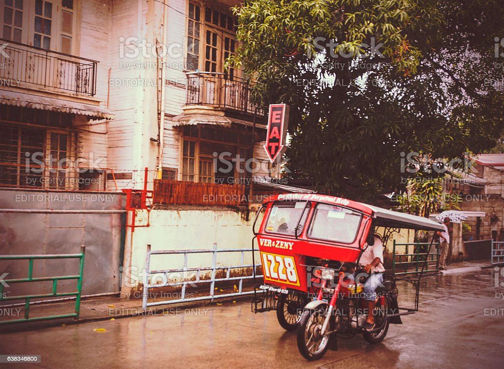 jeepney on the street,dumaguete,philippines stock photo