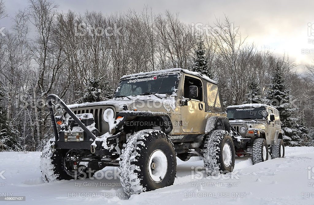 Jeeps Off-Roading in the Snow - Nova Scotia stock photo
