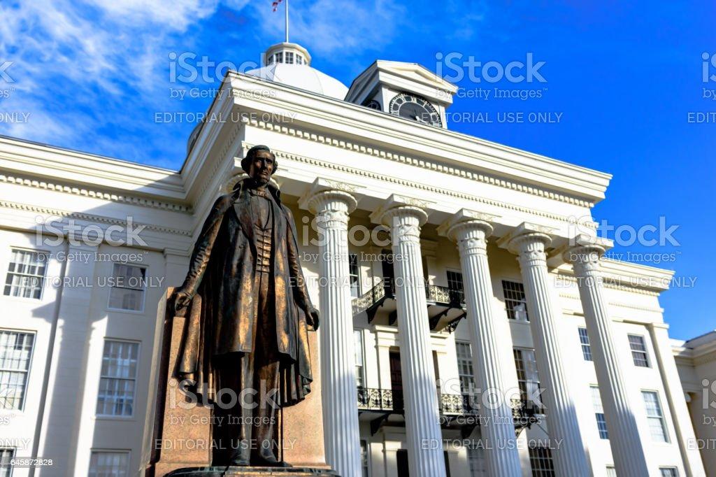 Jefferson Davis statue in front of Alabama Capitol stock photo