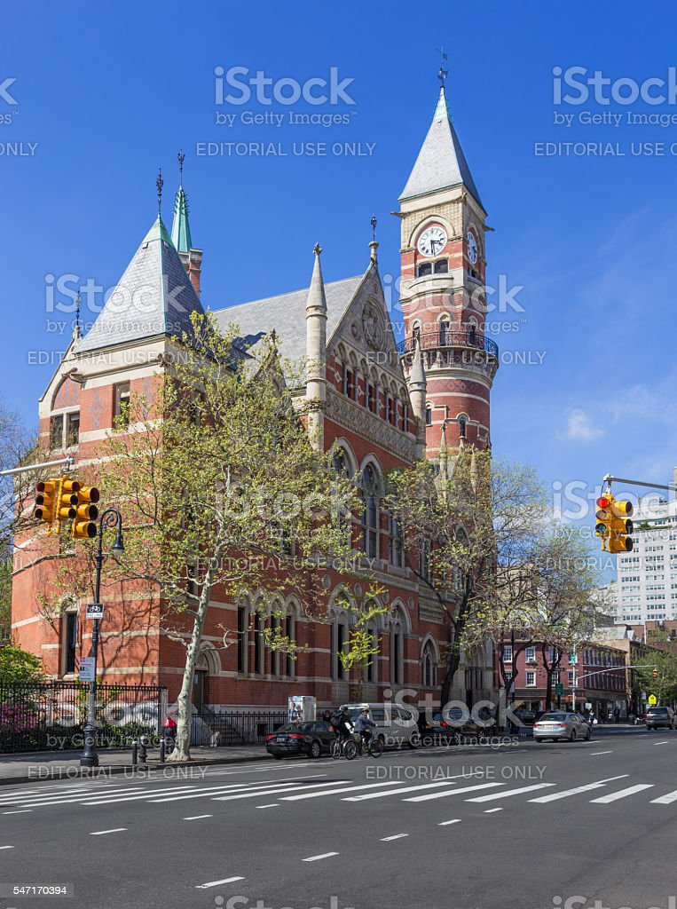 Jefferson Market Library and Avenue of Americas, New York City. stock photo