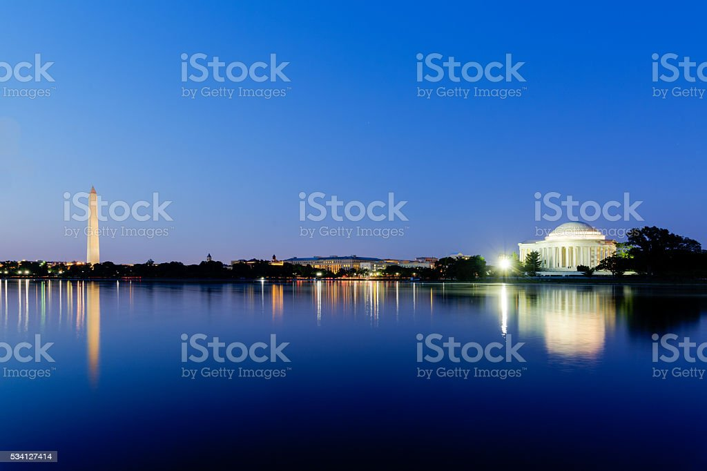 Jefferson Memorial and Washington Monument at dusk in Washington DC stock photo