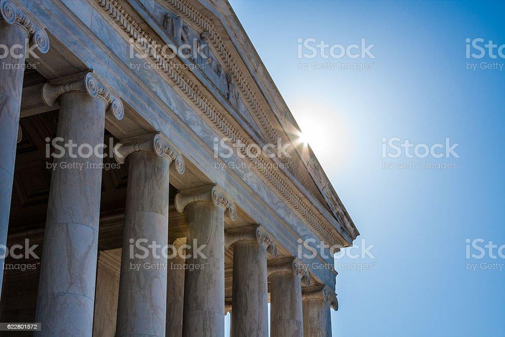 Jefferson Memorial Close Up with Sunburst stock photo